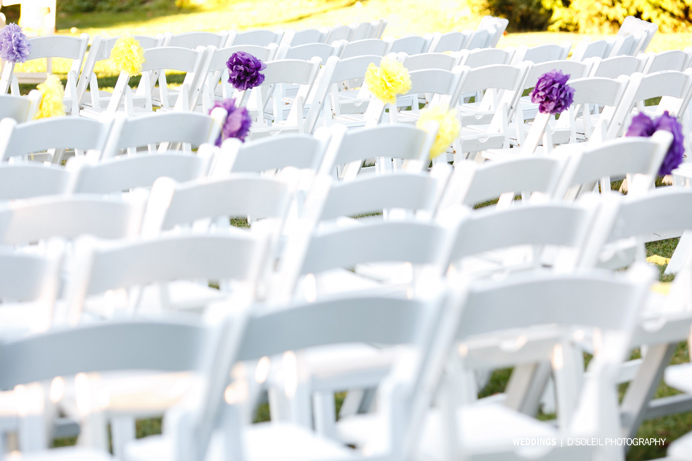 Brock house outdoor ceremony white chairs