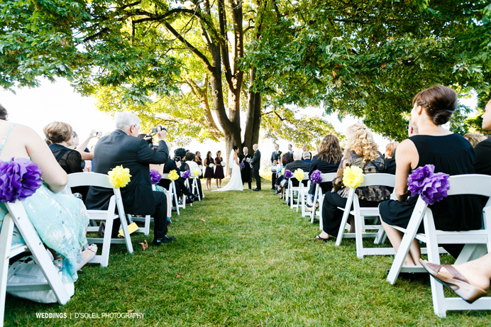 Outdoor wedding ceremony at Brock House