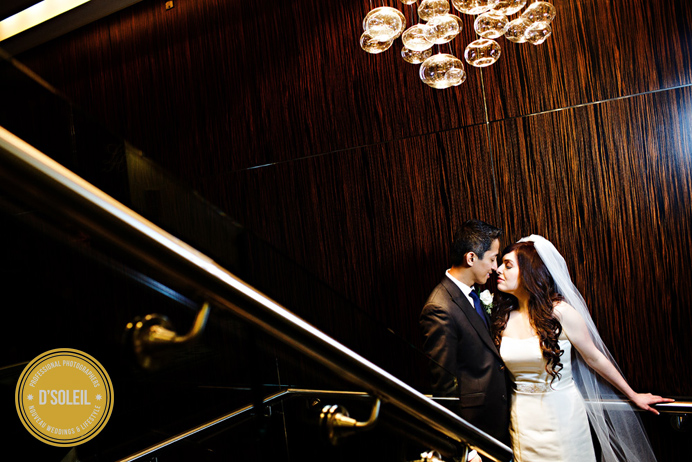 L'Hermitage Hotel Wedding photo on staircase