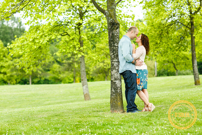 wedding engagement photos with trees