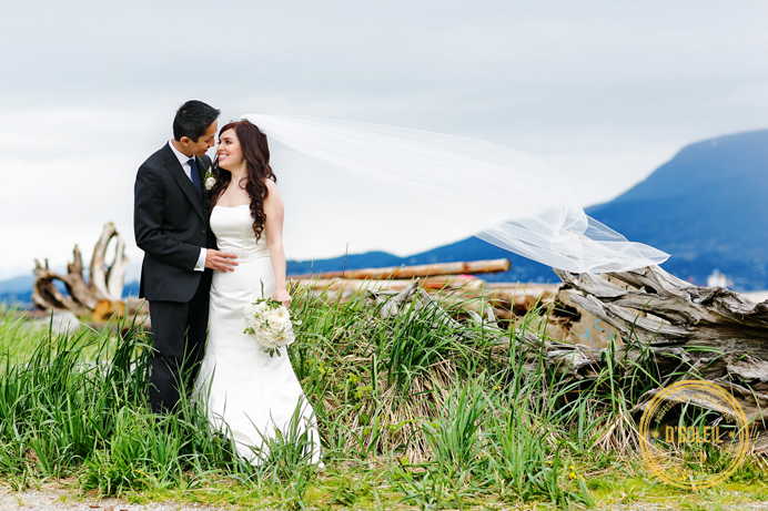 Jericho Beach bride and groom