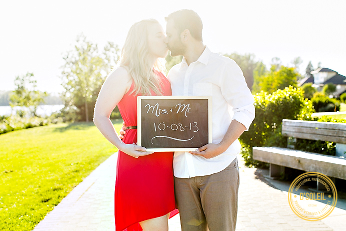 engagement photo with chalk board