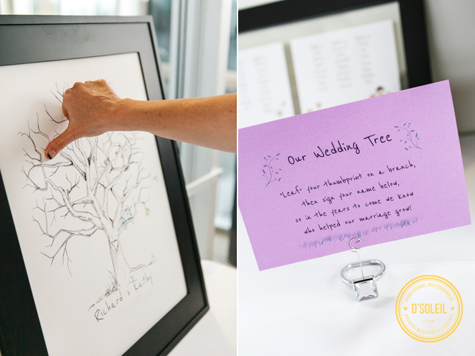 Wedding tree guest table at UBC Boathouse