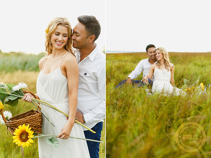 engagement session in a field