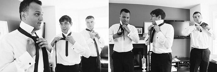 Guys getting ready before wedding