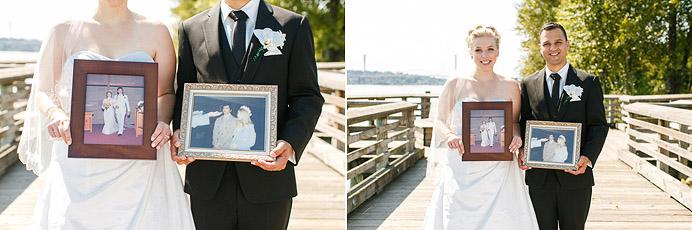 Holding parents wedding photos
