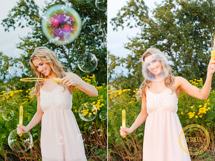 Fun engagement session with bubbles