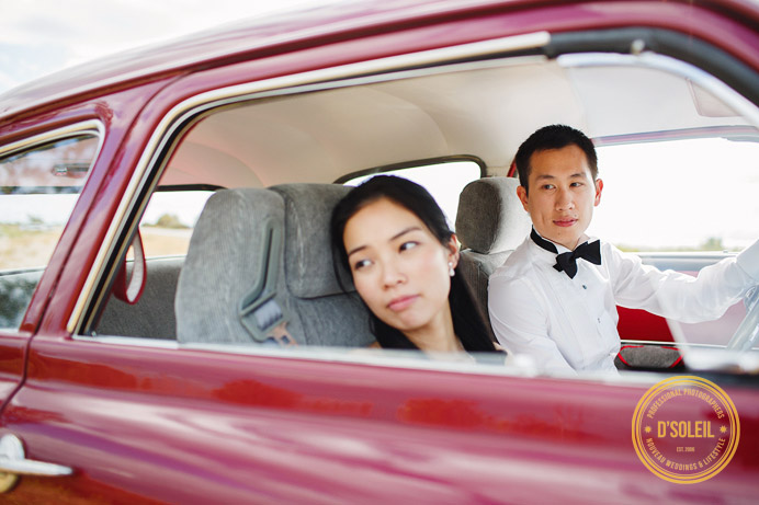 bride and groom in old vintage car wedding
