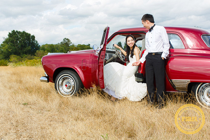 Vintage car wedding photos with a Studebaker
