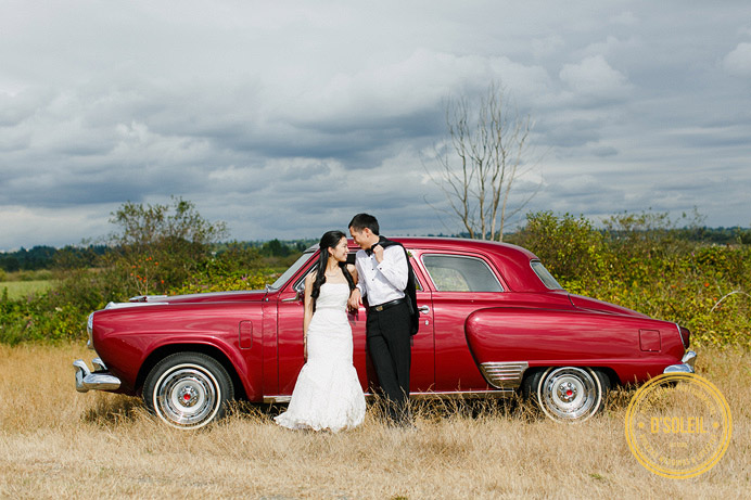 Vintage car wedding photos with a old Studebaker