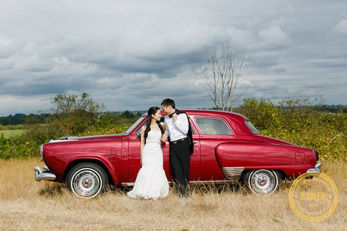 Vintage car wedding photos with a old Studebaker
