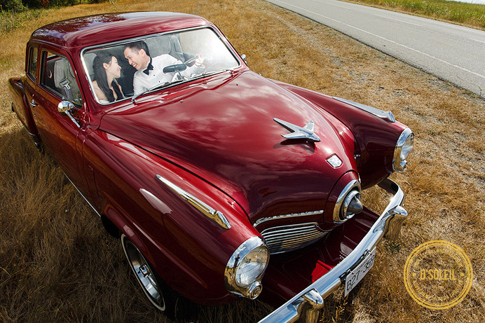 Vintage car wedding photos Studebaker