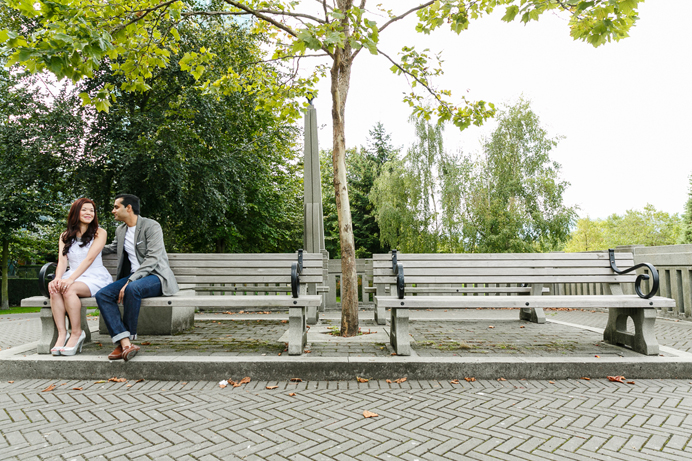park bench engagement photo
