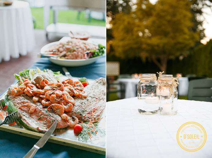 University Golf Club wedding food and mason jars