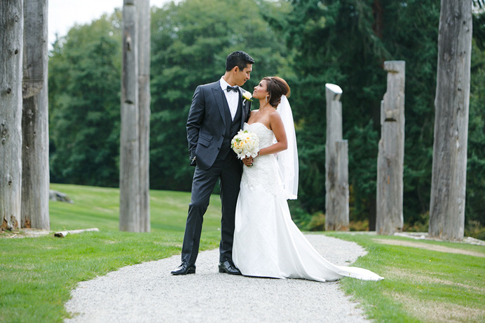 Burnaby Mountain wedding bride and groom