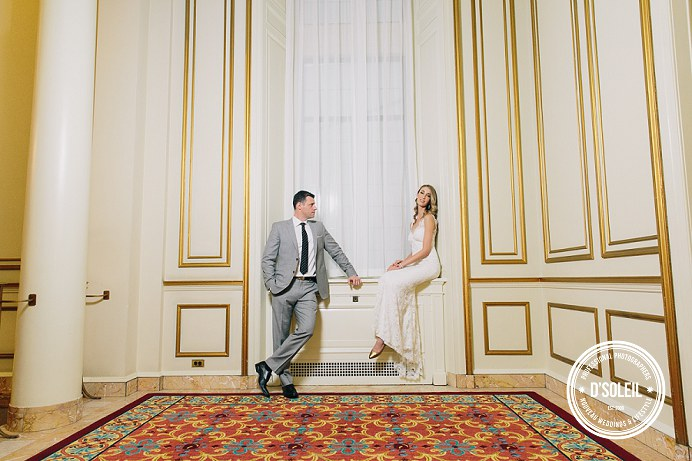 Hotel Vancouver wedding by grand staircase