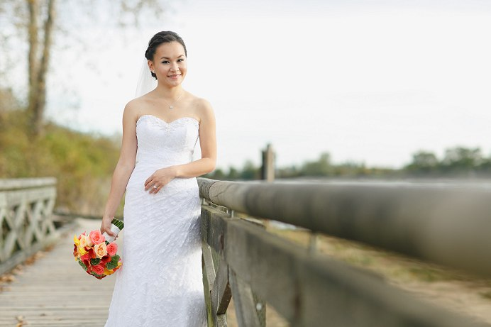 Bride at Fraser River wedding