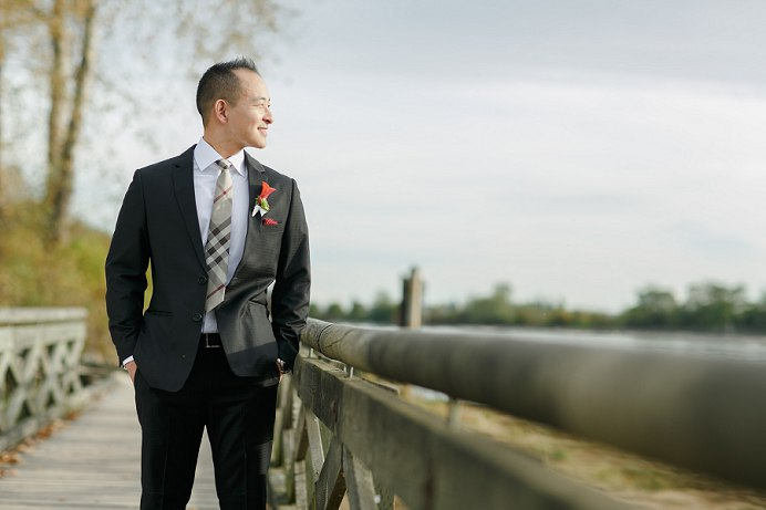 Groom at Fraser River wedding
