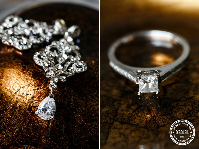 details photo of wedding ring and earrings