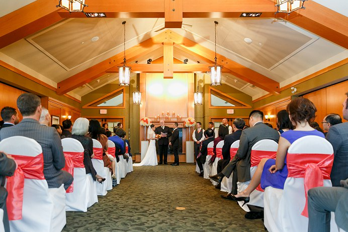 wedding ceremony at golf club