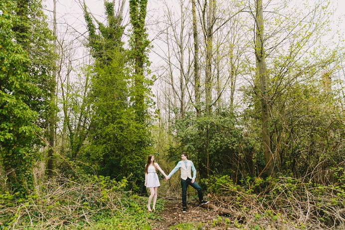 wedding engagement in the forest woods