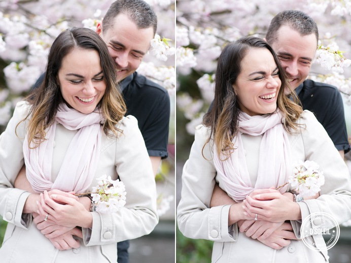 couples portrait with cherry blossoms