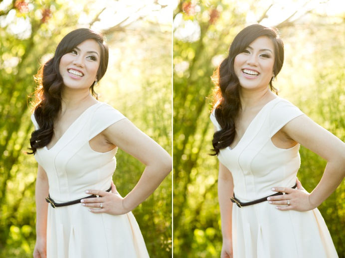 Warm sunny natural engagement portrait, makeup by Jayna Marie