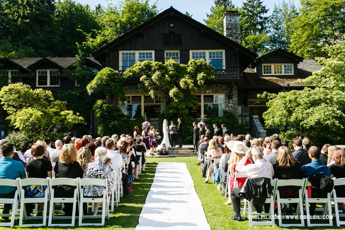 wedding ceremony outside Stanley Park Pavilion