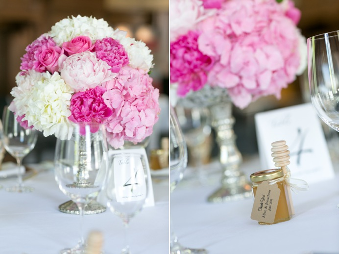 Flower centrepieces and honey as wedding favours
