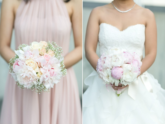 Pink wedding bouqets