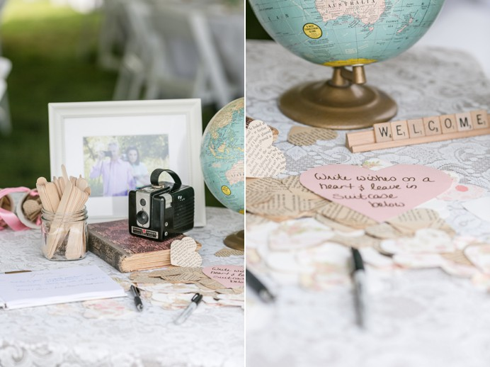 Wedding welcome table decor