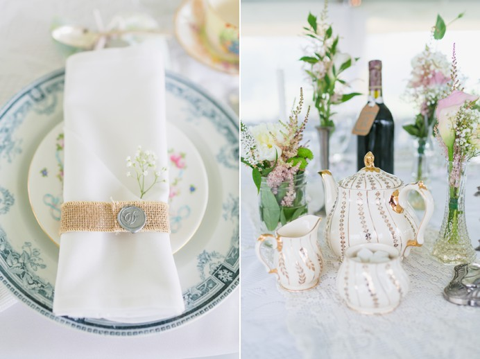 Vintage tea party wedding decor at Cammidge House