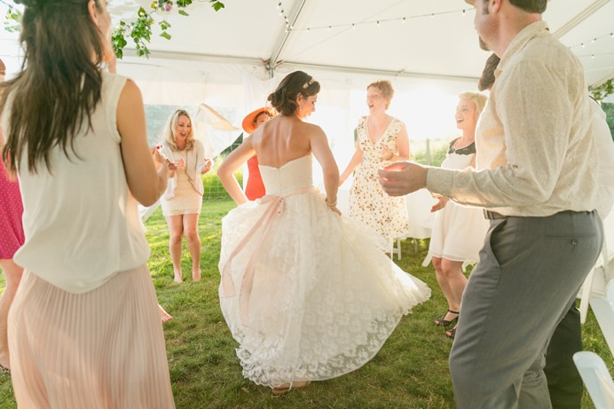 Dancing under tent Cammidge House wedding