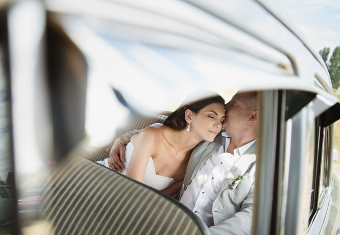 wedding photos inside vintage car Vancouver