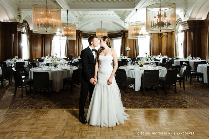Bride and groom inside Ballroom at the Vancouver Club