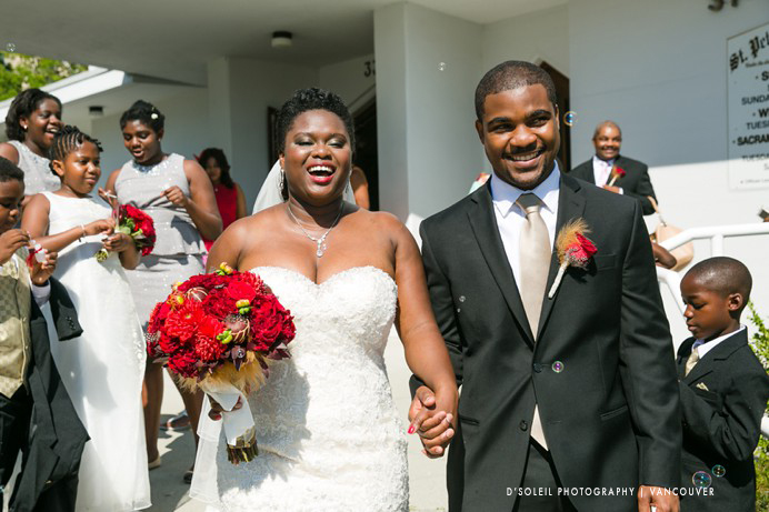 Bride and groom exit church