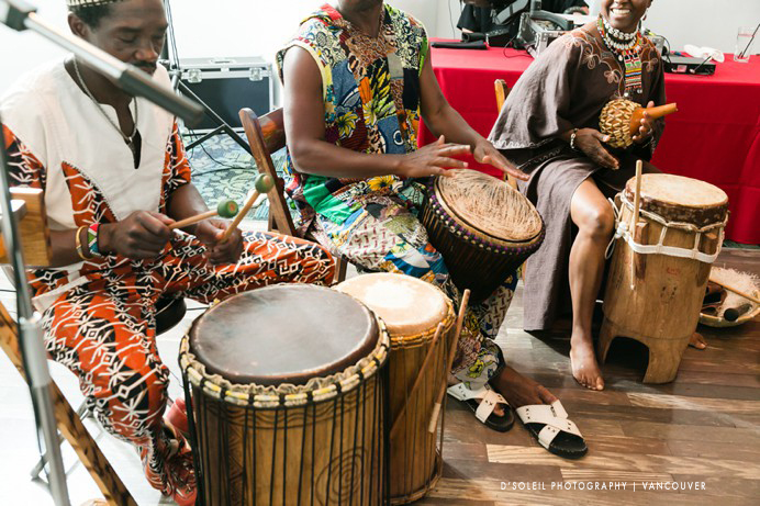 African Caribbean drummers at wedding