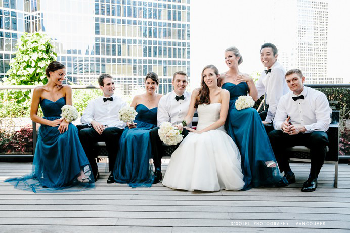 Wedding party photo on Vancouver Club rooftop