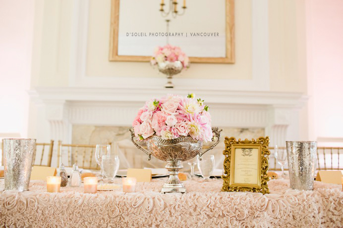 Gold and pink wedding decor at Cecil Green