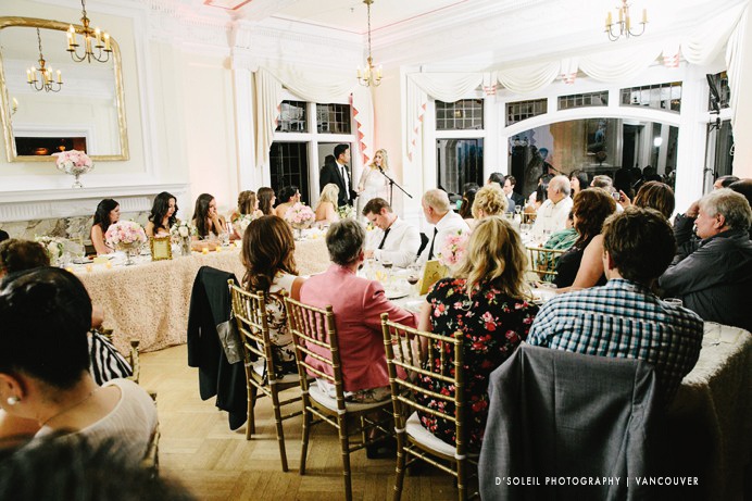 Bride and groom speech in dining room