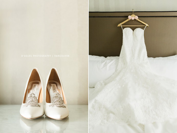 wedding dress and shoes at Sutton Place Hotel