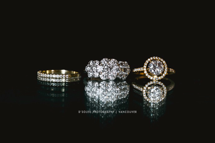 shot of three wedding rings
