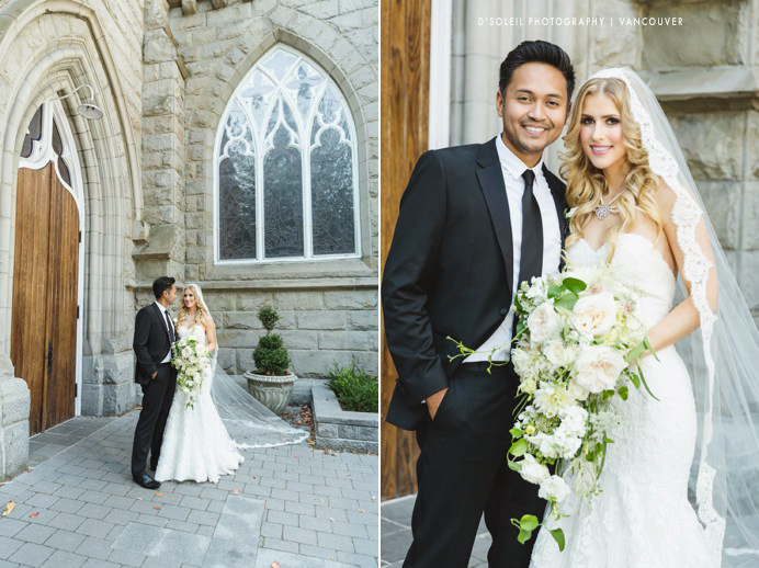 Bride and groom portraits at Holy Rosary Cathedral