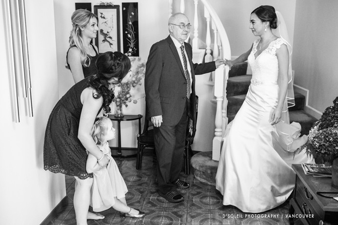 Bride walking down stair to see dad