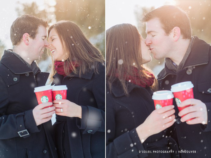 Couples engagement photos with Starbucks