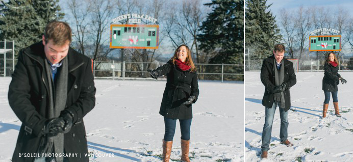 Snowball fight during engagement session