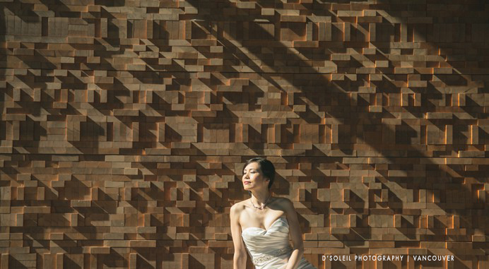 bride at the Vancouver Convention Centre wall of wood