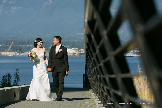 Coal Harbour with bride and groom
