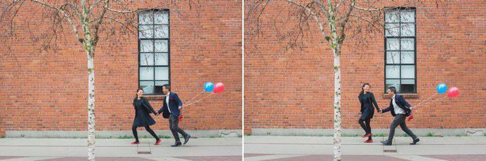 Couple running at brick wall Yaletown engagement