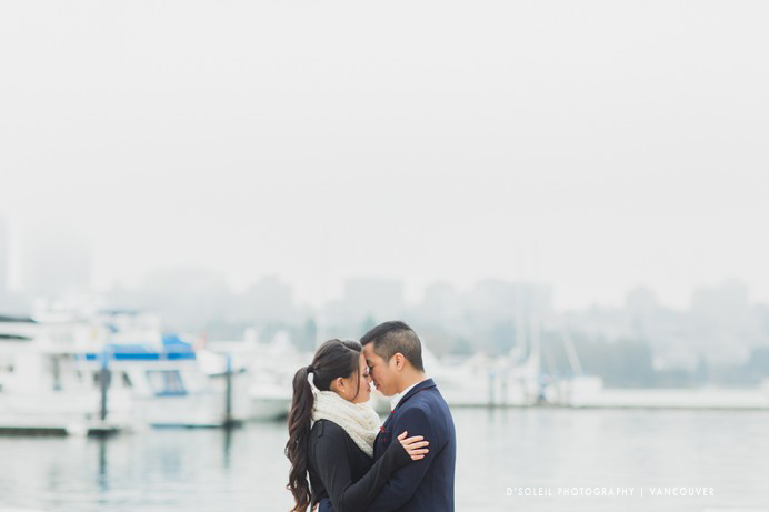 False Creek engagement photo in the fog